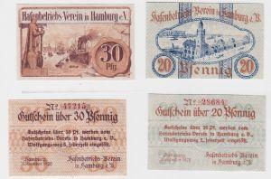 20 & 30 Pfennig Banknoten Notgeld Hamburg Hafenbetriebsverein 1920 (126139)