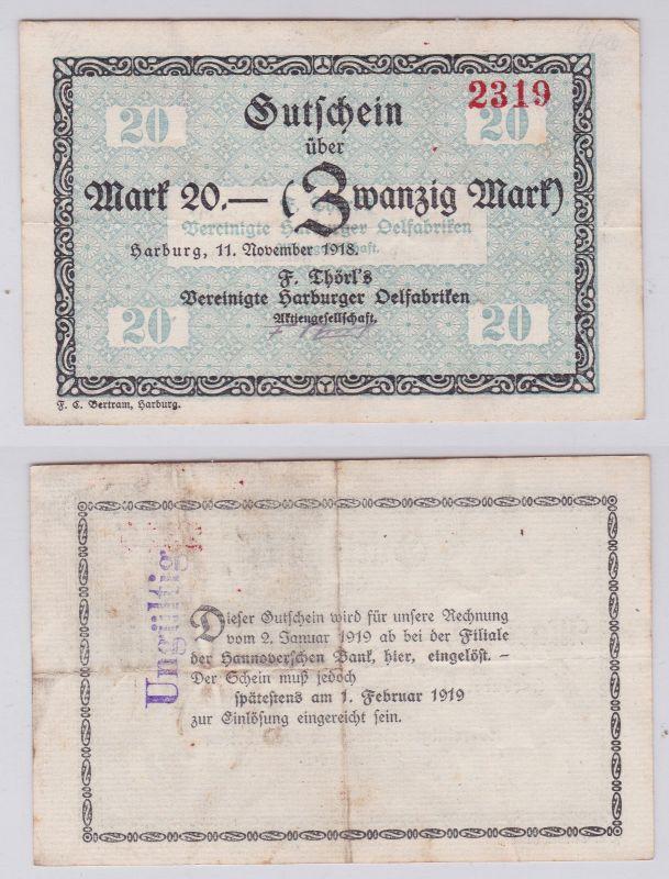 20 Mark Banknote F.Törls vereinigte Harburger Ölfabriken 11.11.1918 (126151)