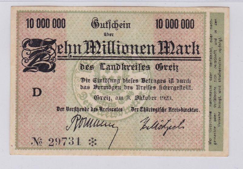 10 Millionen Mark Banknote Inflation Landkreis Greiz 3.10.1923 (125943)