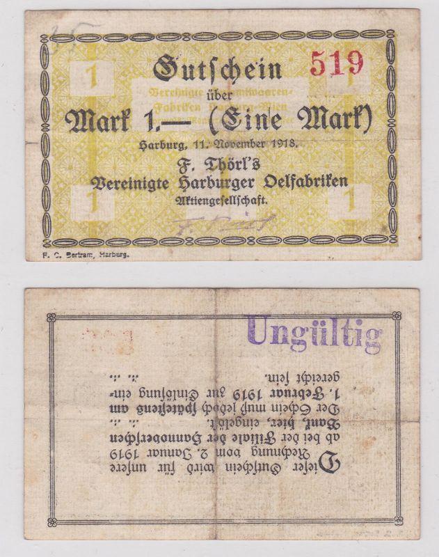 1 Mark Banknote F.Törls vereinigte Harburger Ölfabriken 11.11.1918 (126157)
