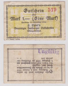 1 Mark Banknote F.Törls vereinigte Harburger Ölfabriken 11.11.1918 (126157)