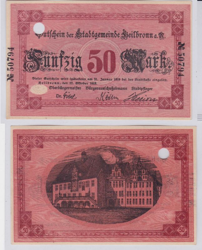 50 Mark Banknote Notgeld Stadtgemeinde Heilbronn a.N. 17.10.1918 (126462)