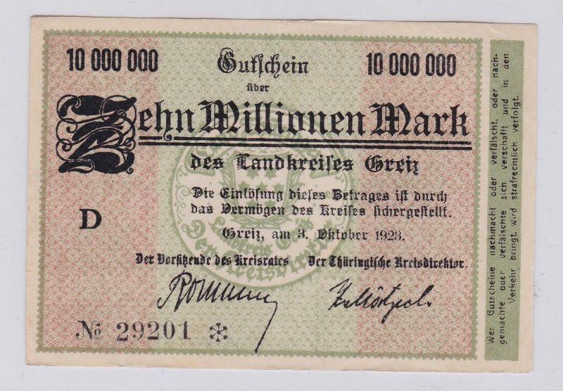 10 Millionen Mark Banknote Inflation Landkreis Greiz 3.10.1923 (126304)