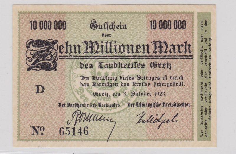 10 Millionen Mark Banknote Inflation Landkreis Greiz 3.10.1923 (126306)