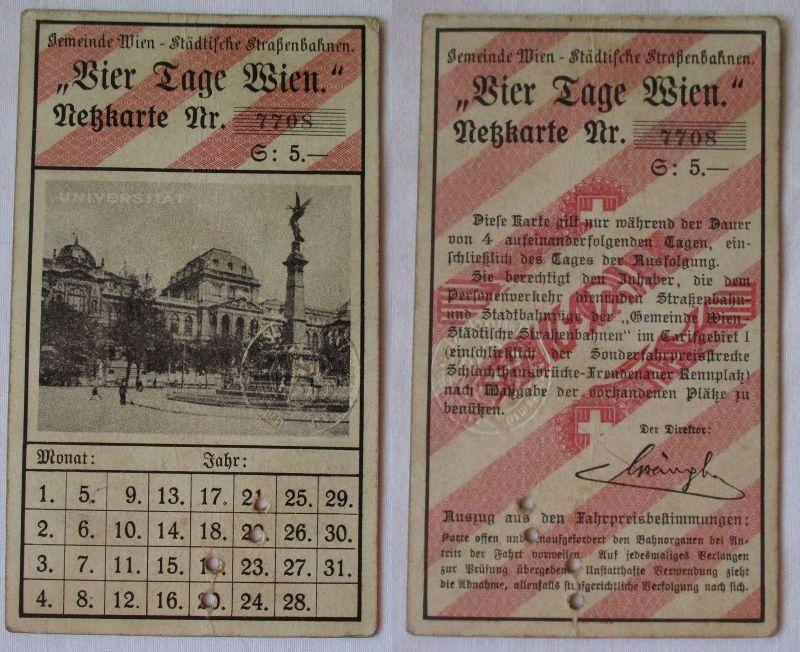 Städtische Strassenbahn Fahrkarte WIEN um 1920 Netzkarte 4 Tage Wien (118996)