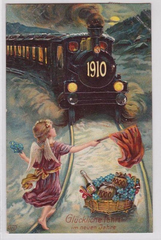 87686 Glückwunsch AK Glückliche Fahrt im neuen Jahre 1910