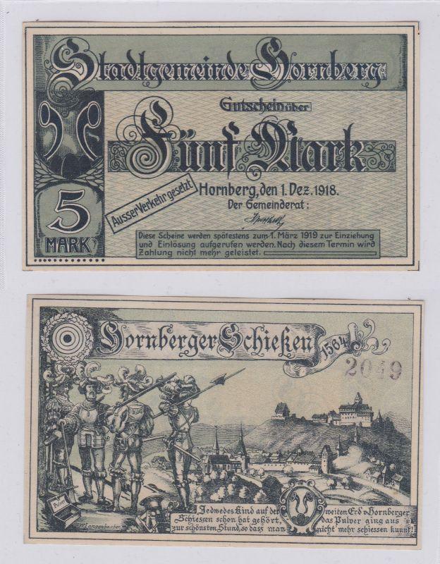 5 Mark Banknote Notgeld Stadtgemeinde Hornberg 1.12.1918 (126466)