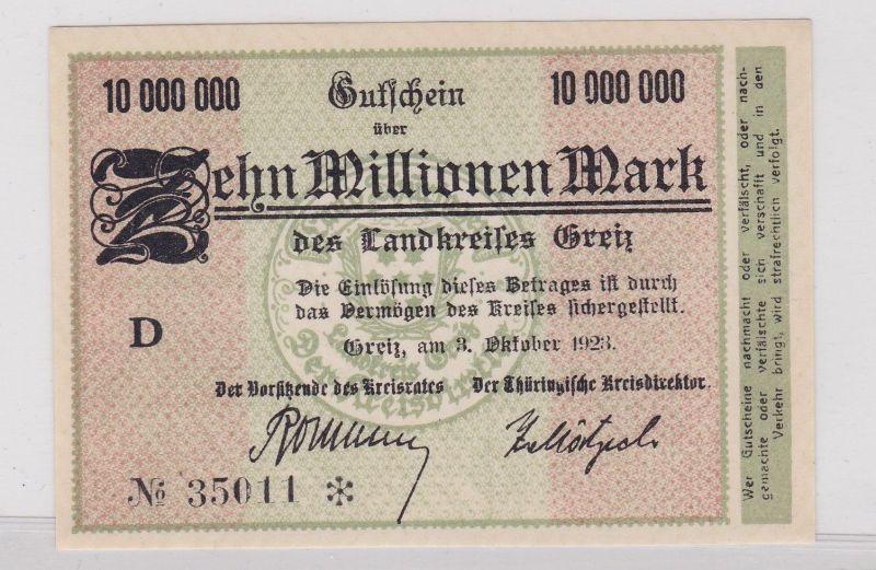 10 Millionen Mark Banknote Inflation Landkreis Greiz 3.10.1923 (126543)