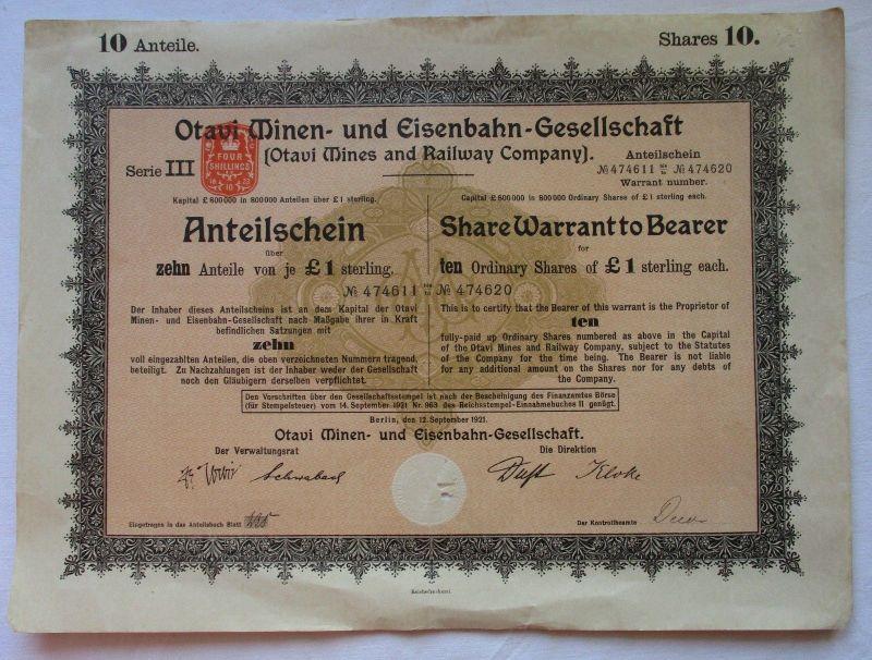 10x 1 £ Anteilsschein Aktie der Otavi Minen & Eisenbahn Gesellschaft (117861)