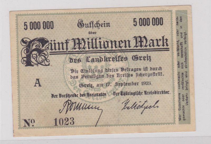 5 Millionen Mark Banknote Inflation Landkreis Greiz 17.9.1923 (125923)