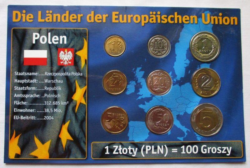 Kursmünzsatz Polen 9 Münzen 1 Grosz - 5 Zloty 1994-2007 + Zertifikat (126176)