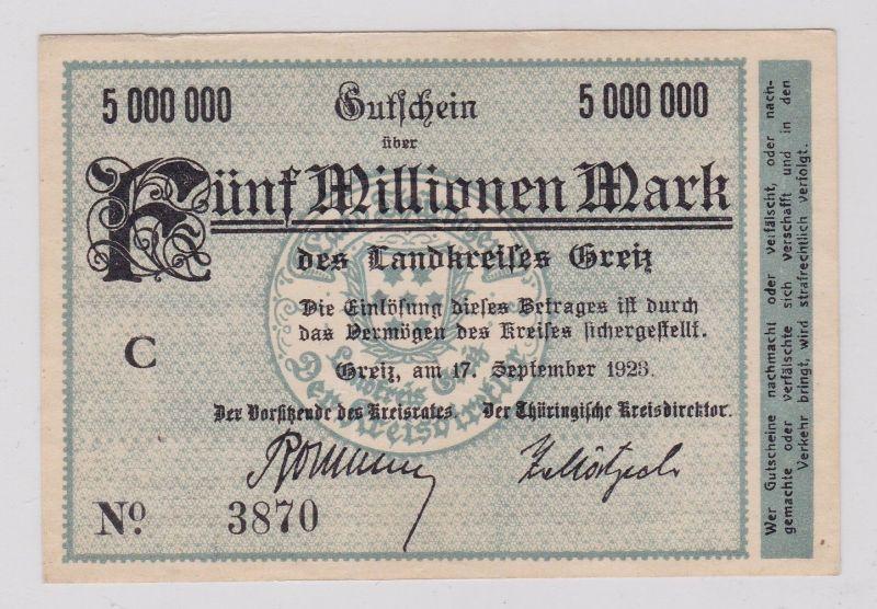 5 Millionen Mark Banknote Inflation Landkreis Greiz 17.9.1923 (125936)
