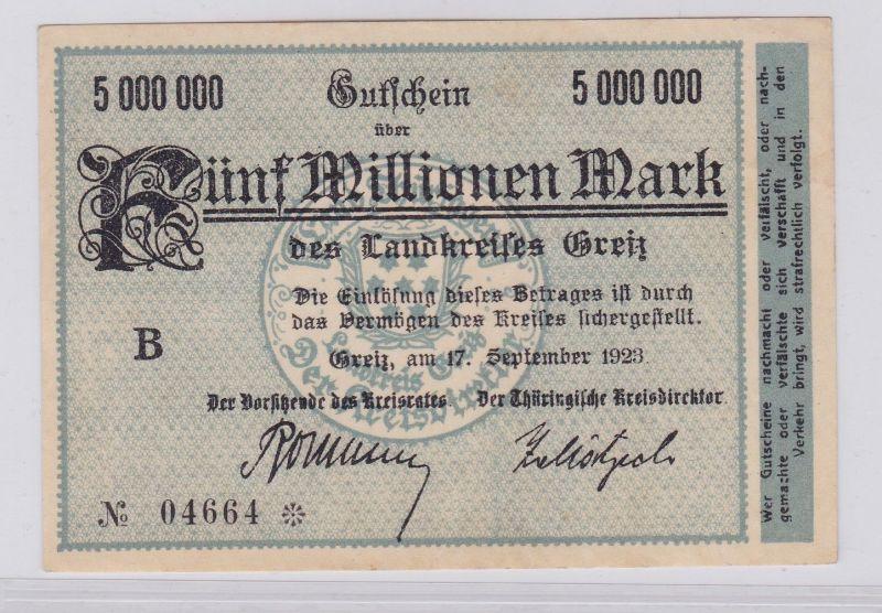 5 Millionen Mark Banknote Inflation Landkreis Greiz 17.9.1923 (125931)