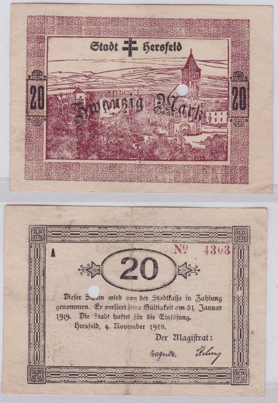 20 Mark Banknoten Notgeld Stadt Hersfeld 4.11.1918 (126384)