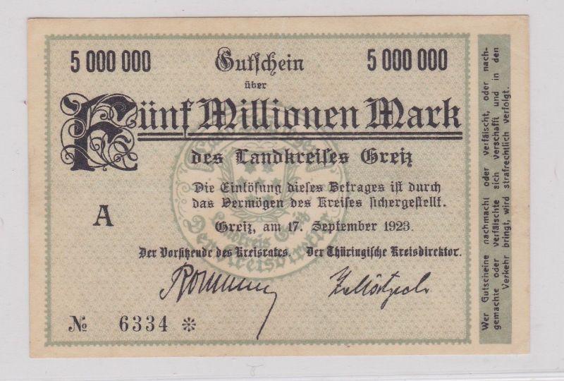 5 Millionen Mark Banknote Inflation Landkreis Greiz 17.9.1923 (126382)