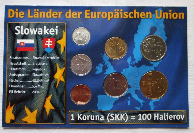 Kursmünzsatz Slowakei 7 Münzen 10 Heller - 10 Slow. Kronen + Zertifikat (126039)