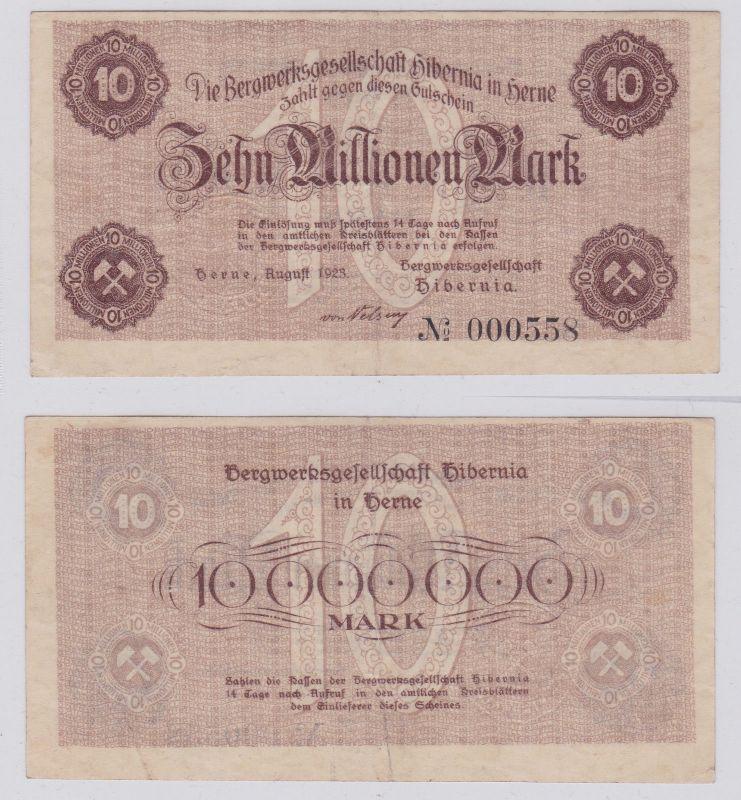 10 Mrd. Mark Banknote Herne Bergwerksgesellschaft Hibernia August 1923 (125947)