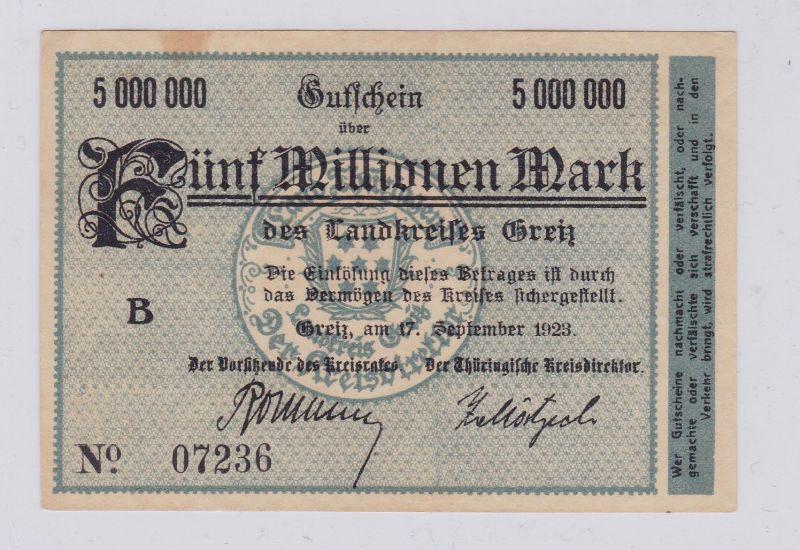 5 Millionen Mark Banknote Inflation Landkreis Greiz 17.9.1923 (126302)