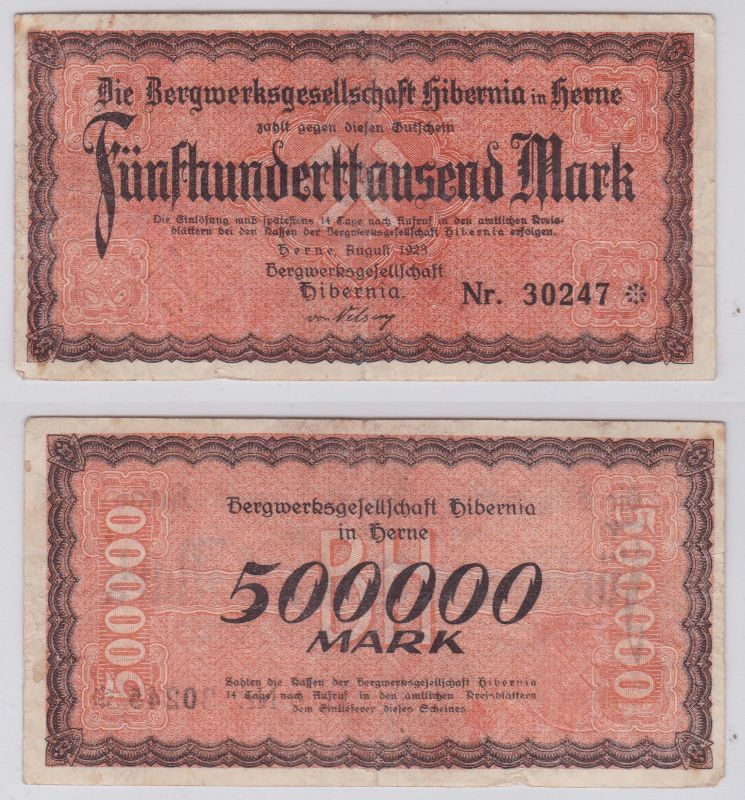 500000 Mark Banknote Herne Bergwerksgesellschaft Hibernia August 1923 (126156)