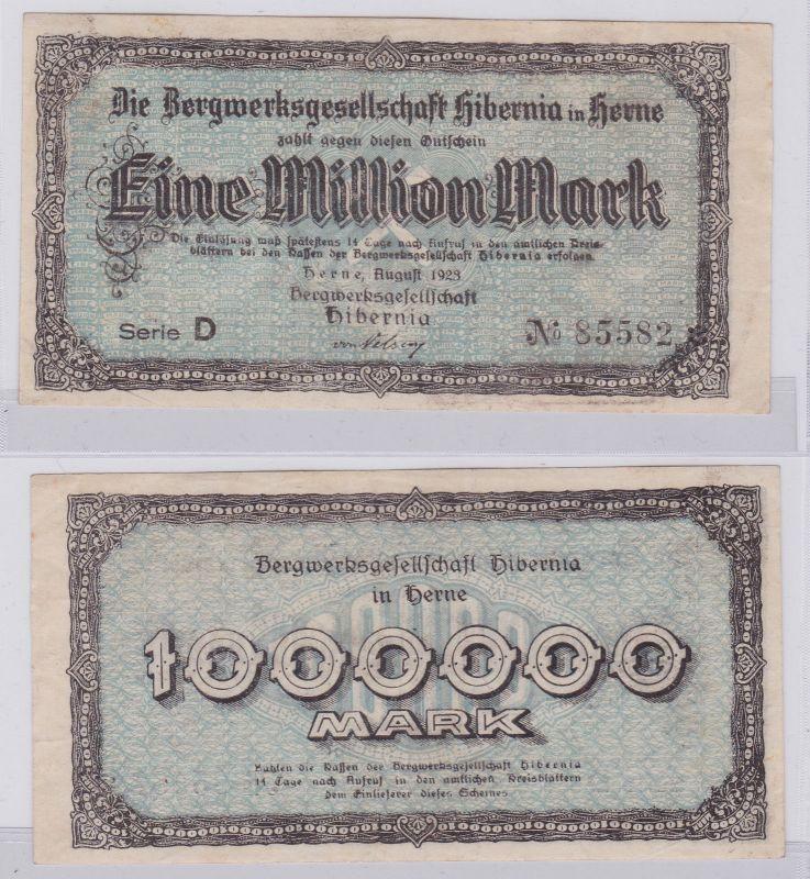 1 Million Mark Banknote Herne Bergwerksgesellschaft Hibernia August1923 (126386)