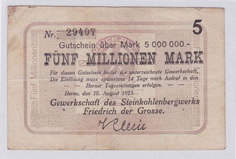 5 Millionen Mark Banknote Herne Gewerkschaft des Steinkohlenwerks 1923 (126296)