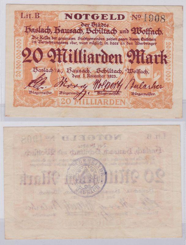 20 Milliarden Mark Banknoten Haslach, Hausach, Schiltach, Wolfach 1923 (126641)