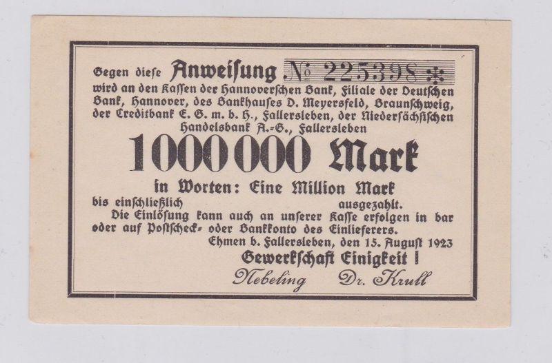 1 Million Mark Banknote Inflation Gewerkschaft Einigkeit ! Ehmen 1923 (125902)