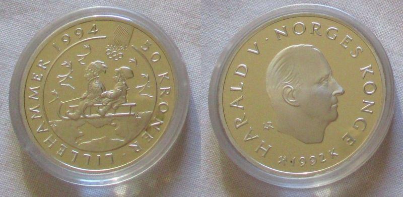 50 Kronen Silber Münze Norwegen Olympiade 1994 Lillehammer 1992 (126451)