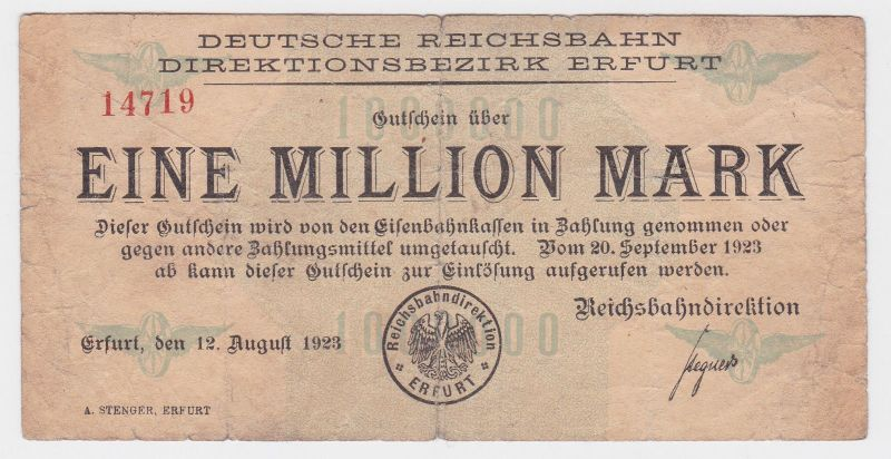 1 Million Mark Banknote Reichsbahndirektion Erfurt 12.8.1923  (116882)
