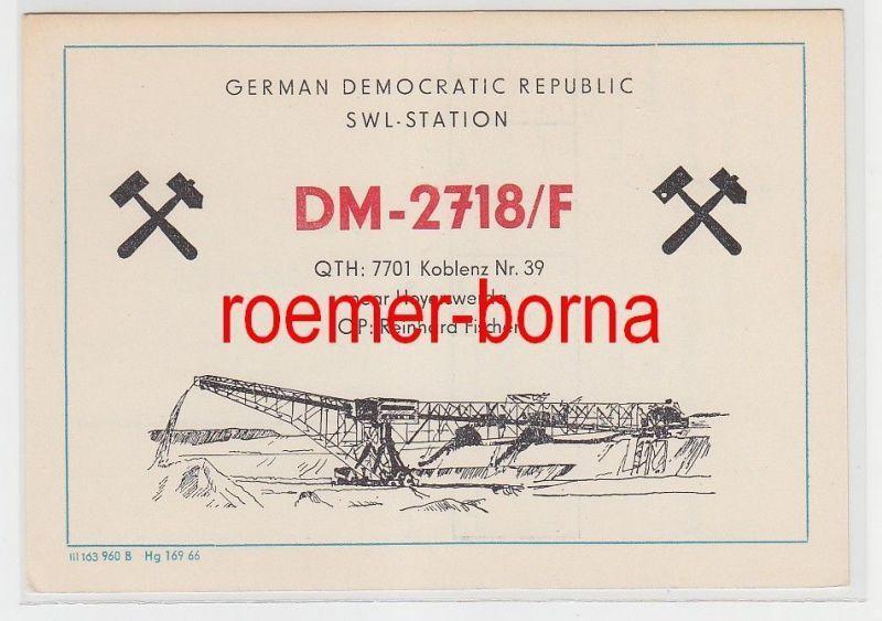 73858 QSL Karte Funker Funkamateur DDR Bergbaumotiv Hoyerswerda um 1970