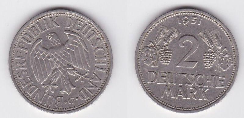 2 Mark Nickel Münze BRD Trauben und Ähren 1951 G (125587)