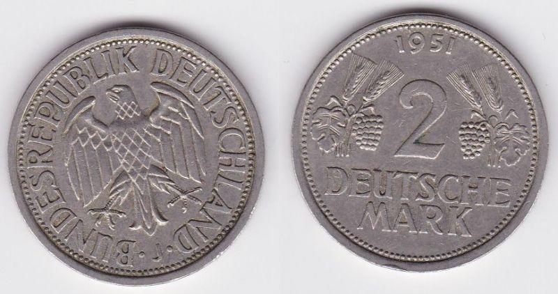 2 Mark Nickel Münze BRD Trauben und Ähren 1951 J (120398)
