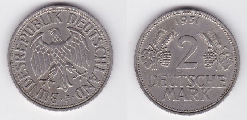 2 Mark Nickel Münze BRD Trauben und Ähren 1951 F (125552)