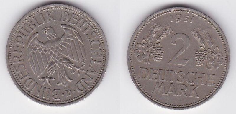 2 Mark Nickel Münze BRD Trauben und Ähren 1951 D (124615)
