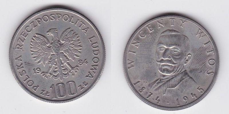 100 Zloty Kupfer Nickel Münze Polen Wincenty Witos 1984 (123944)