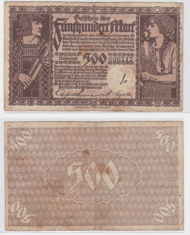 500 Mark Banknote Handelskammern Mönchen Gladbach 10.10.1922 (121909)