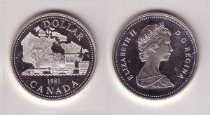 1 Dollar Silbermünze Kanada Dampflokomotive vor Landkarte von Kanada 1981(116891