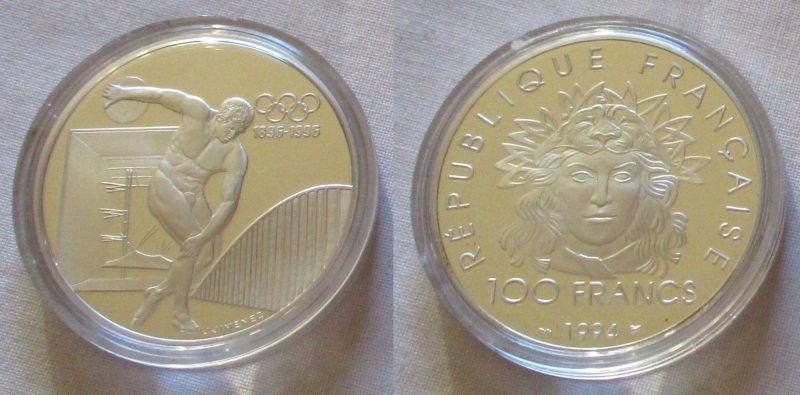 100 Franc Silber Münze Frankreich Olympia 1996 100 Jahre Spiele 1994 (126423)