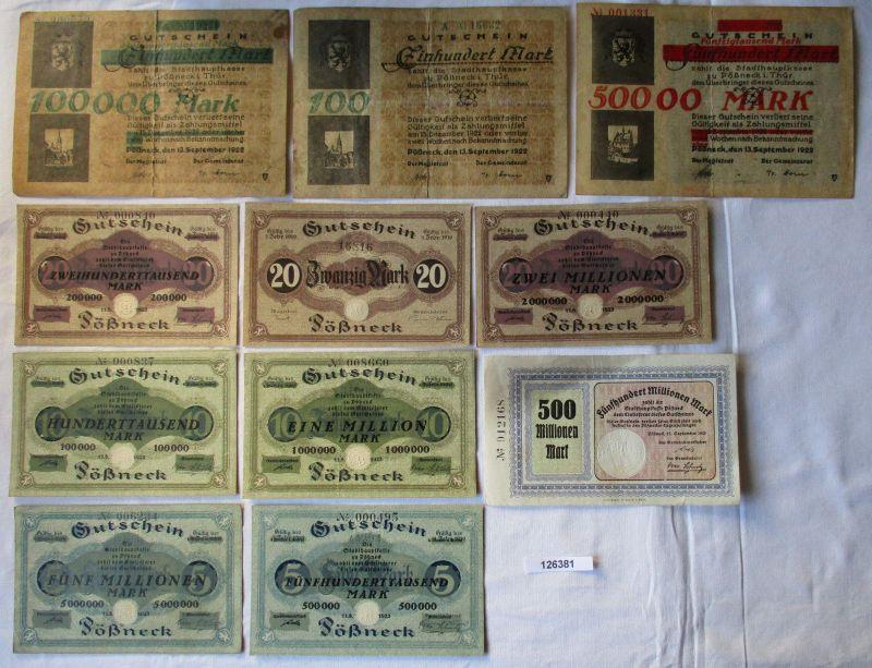 11 Banknoten Inflation Stadt Pößneck 1923 (126381)
