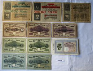 11 Banknoten Inflation Stadt Pößneck 1923 (126049)