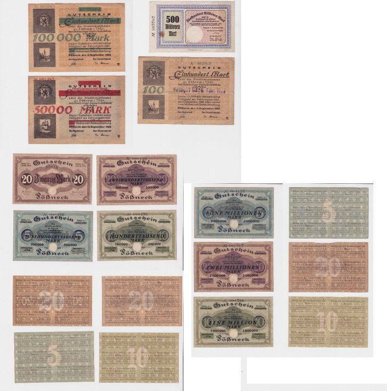 11 Banknoten Inflation Stadt Pößneck 1923 (126871)