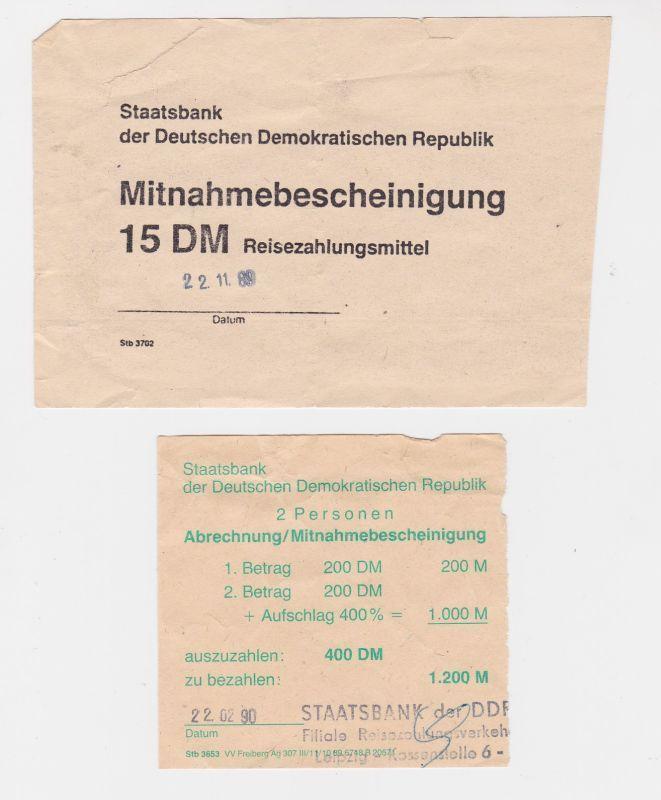 2 DDR Mitnahmebescheinigung für Reisezahlungsmittel 1989/1990 (127102)