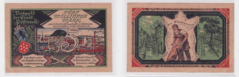 5 Millionen Mark Banknote Inflation Stadt Pößneck 11.8.1923 (127328)