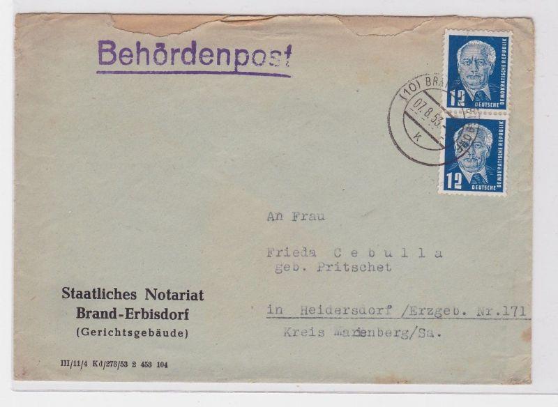 91643 Brief Behördenpost Staatliches Notariat Brand Erbisdorf 1953