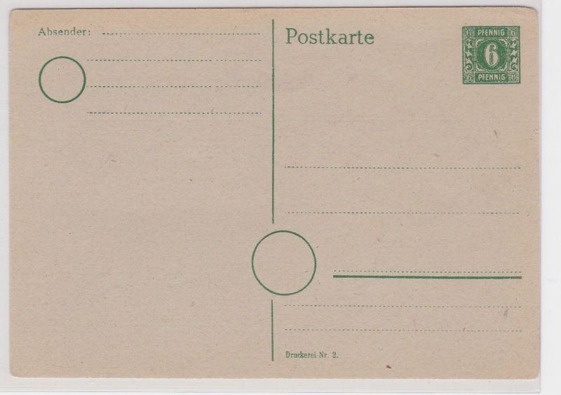 49658 Ganzsachen Karte SBZ mit 6 Pfennig Grün um 1948