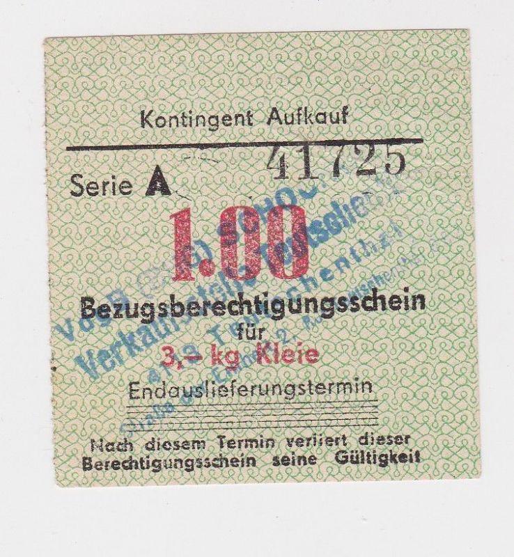 1,00 Mark Bezugsberechtigungsschein DDR für 3 Kilo Kleie (126407)