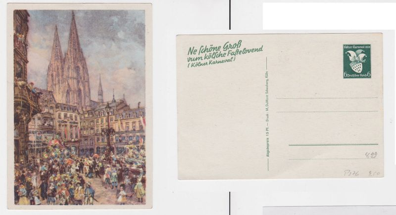 61523 Ganzsachen Ak Kölner Karneval 1939