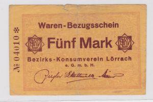 5 Mark Banknote Waren Bezugsschein Bezirks Konsumverein Lörrach  (126726)