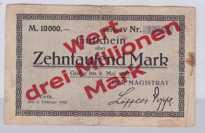 3 Millionen Mark Überdruck Banknote Inflation Stadt Zeitz 8.2.1923 (126593)