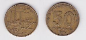50 Pfennig Messing Münze DDR 1950 Pflug vor Industrielandschaft (127182)